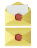 Envelope with red wax seal Stock Photography