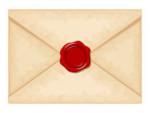 Envelope with red wax seal. Vector illustration. Royalty Free Stock Photos