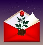 Envelope and rose. On a dark background red envelope with a large wax seal, inside red rose and letter Stock Photography