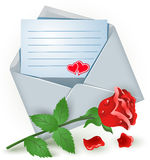 Envelope with rose Stock Images
