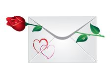 Envelope with the rose Royalty Free Stock Photo