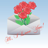 Envelope  with an a roses. I Love You. Royalty Free Stock Photography