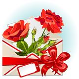 Envelope With Roses. Vector of envelope with roses, big red bow and greeting card stock illustration