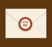 Envelope with rosette seal. Vector illustration. Quote Open me. ideal for invitation envelopes for a wedding or birthday Stock Photo
