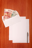 Envelope with a Money and Empty Paper Royalty Free Stock Photography