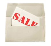 Envelope with sale note Stock Photography