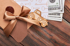 Envelope with seal and bow. Stock Images