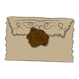 Envelope with seal. Vector illustration. Drawing by hand. royalty free illustration