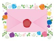 Envelope and sealed - Flower Background stock illustration