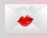 Envelope sealed with lips Stock Photos