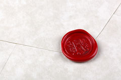 Envelope sealed with a red wax seal Stock Photography