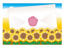 Envelope and sealed - Sunflower field royalty free illustration