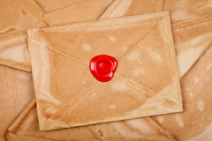 Envelope with sealing wax. Old styled envelope with empty red sealing wax stamp Stock Photo