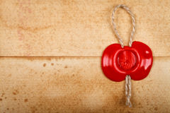 Envelope with sealing wax stamp on it Royalty Free Stock Image