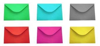 Red envelope isolated on white. Envelope set in colors isolated on white background Royalty Free Stock Image