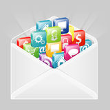 Envelope with Set of Icons Stock Image