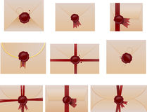 Envelope set with wax seals Royalty Free Stock Photos