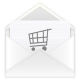 Envelope shopping cart Stock Photography