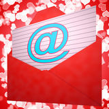 At Envelope Shows Email Message And Correspondence Royalty Free Stock Photos
