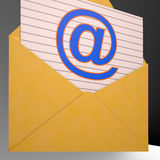 At Envelope Shows World Telecommunications Mail Royalty Free Stock Photography