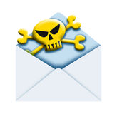 Envelope and skull Stock Images