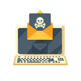 Envelope with skullon the laptop screen. Stock Photo