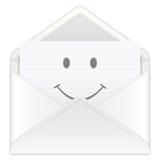 Envelope smile. Open envelope containing smile symbol on a white background. Vector illustration Stock Photos