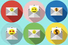 Envelope with smiley Vector flat Royalty Free Stock Photography