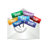 Envelope with social media signs illustration Royalty Free Stock Photo