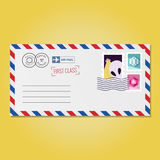 Envelope with stamps (alien and hexagons) vector Stock Photography