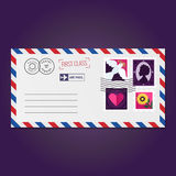 Envelope with stamps (dove, silhouette, heart and flower) vector Stock Photos