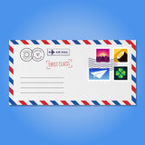 Envelope with stamps (mountains, crystal, paper airplane and clover) vector Stock Image