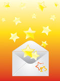 Envelope and the stars. Royalty Free Stock Images