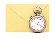 Envelope and stopwatch. On white background. 3d rendering image stock illustration