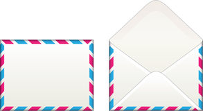 Envelope. With stripes. Both sides, front and back, open and closed royalty free illustration