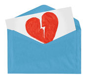 Envelope with symbol of broken love royalty free stock photography