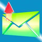 Envelope Symbol Shows Email Outbox. E-mail Symbol Shows Emailing Contacting Send Online Royalty Free Stock Photos