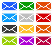 Envelope symbols in 12 colors as contact, support, email icons, Stock Image