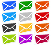 Envelope symbols in 12 colors as contact, support, email icons, Royalty Free Stock Image