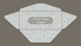 Envelope template with floral pattern Stock Image