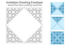 Envelope template For Laser cut. Ting. Square format. Die of wedding and invitation card. Vector Illustration on white background vector illustration