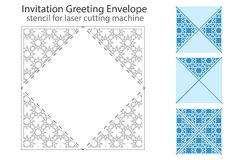 Envelope template For Laser cut. Ting. Square format. Die of wedding and invitation card. Vector Illustration on white background stock illustration