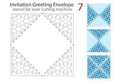 Envelope template For Laser cut. Envelope template 7 For Laser cutting. Square format. Die of wedding and invitation card. Vector Illustration on white vector illustration