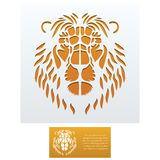 Envelope template For Laser cut. Envelope template with Lion Head For Laser cutting. Square format. Die of wedding and invitation card. Vector Illustration on vector illustration