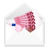 Envelope and ten euro banknotes Stock Photos