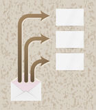 Envelope and three arrows with blank papers Royalty Free Stock Photo