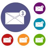 Envelope with three messages icons set Royalty Free Stock Photography