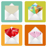 Envelope tickets. The set of icons in the form of envelopes with a clean sheet, love message, tickets and cards on the theme of a tropical getaway Royalty Free Stock Photos
