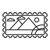 Envelope timbre icon, outline style vector illustration