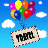 Envelope with TRAVEL message attached to multicoloured balloons on blue sky and clouds background. Illustration Stock Photo
